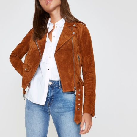 SAVE 1/3 on this Tan Suede Biker Jacket!
