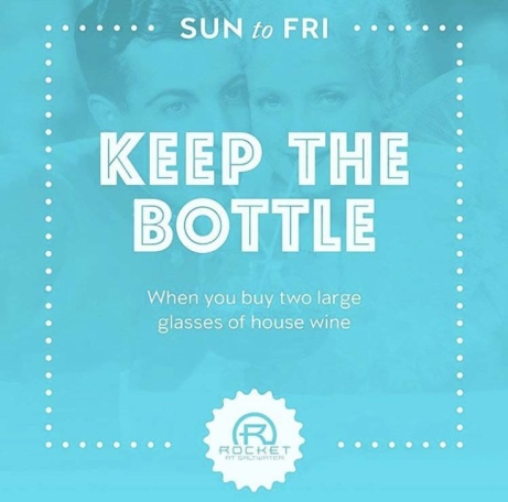 Sunday to Friday: Keep the bottle when you buy two large glasses of house wine!