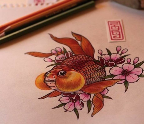 A beautiful Japanese Bubble fish design by our resident wolf Nhong!