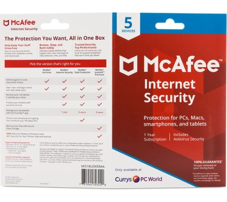 SAVE 70% on MCAFEE Internet Security 2018 - 1 year for 5 devices - ONLY £14.99!