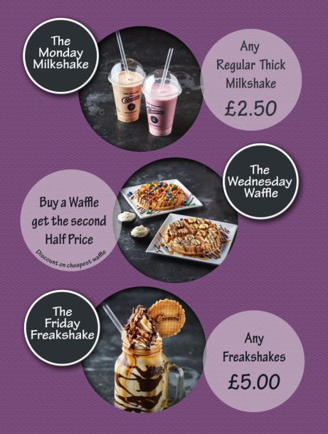 The Wednesday Waffle - Buy a Waffle get the second Half Price!