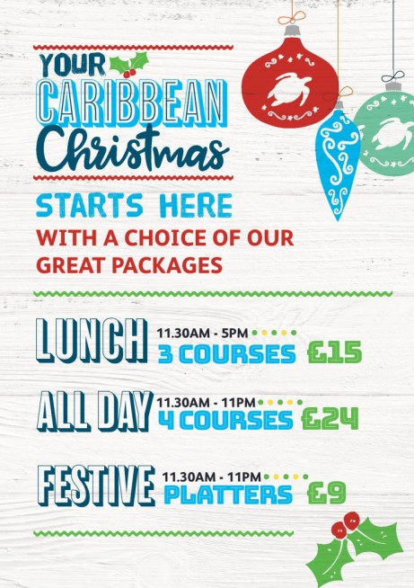 Caribbean Christmas 3 Course Lunch Deal ONLY £15 at Turtle Bay!