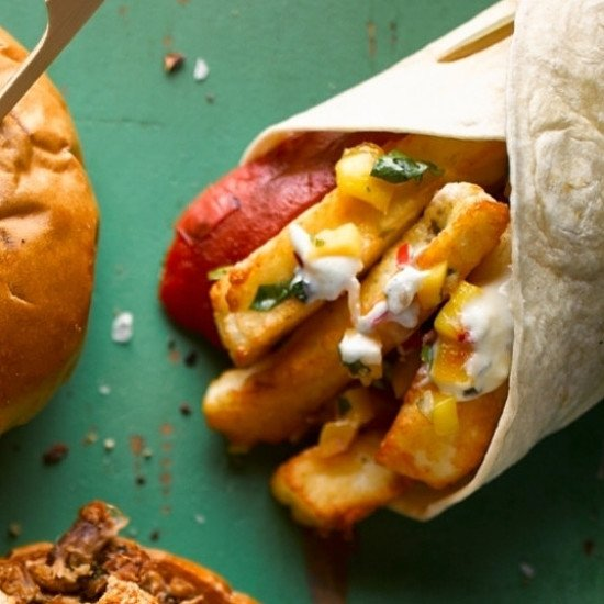Halloumi Wrap with smoky salsa, black beans, pepper and goats cheese for just £6.00!