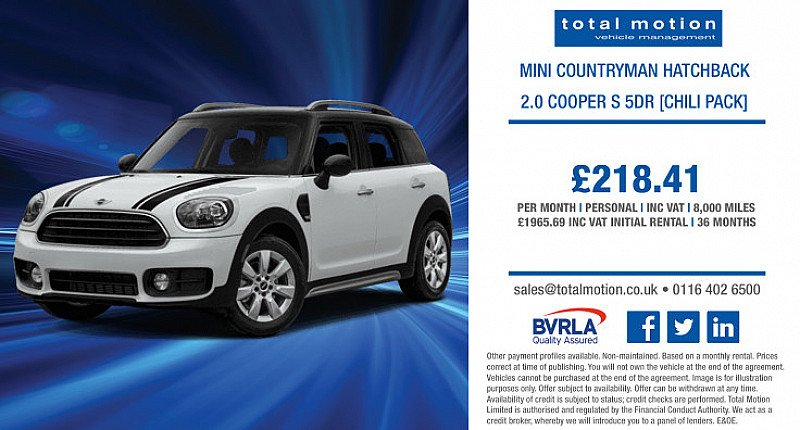 Personal Leasing Offer: Mini Countryman 2.0 S [Chili Pack] for £218.41 inc. VAT!
