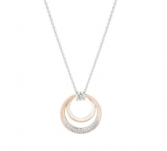 Save £100 on this 9ct rose and white gold double circle pendant