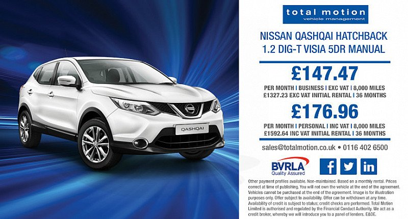Nissan Qashqai DIG-T Visia | Lease from £147.47 + VAT p/m!