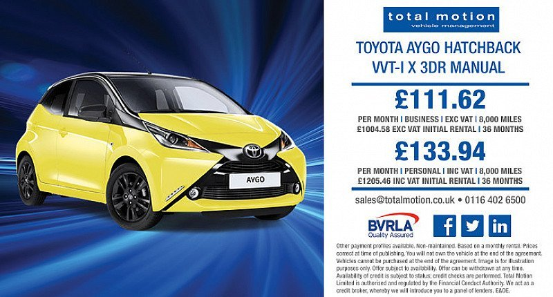 Toyota Aygo VVT-I X 3dr   Lease from just £111.62 + VAT p/m!