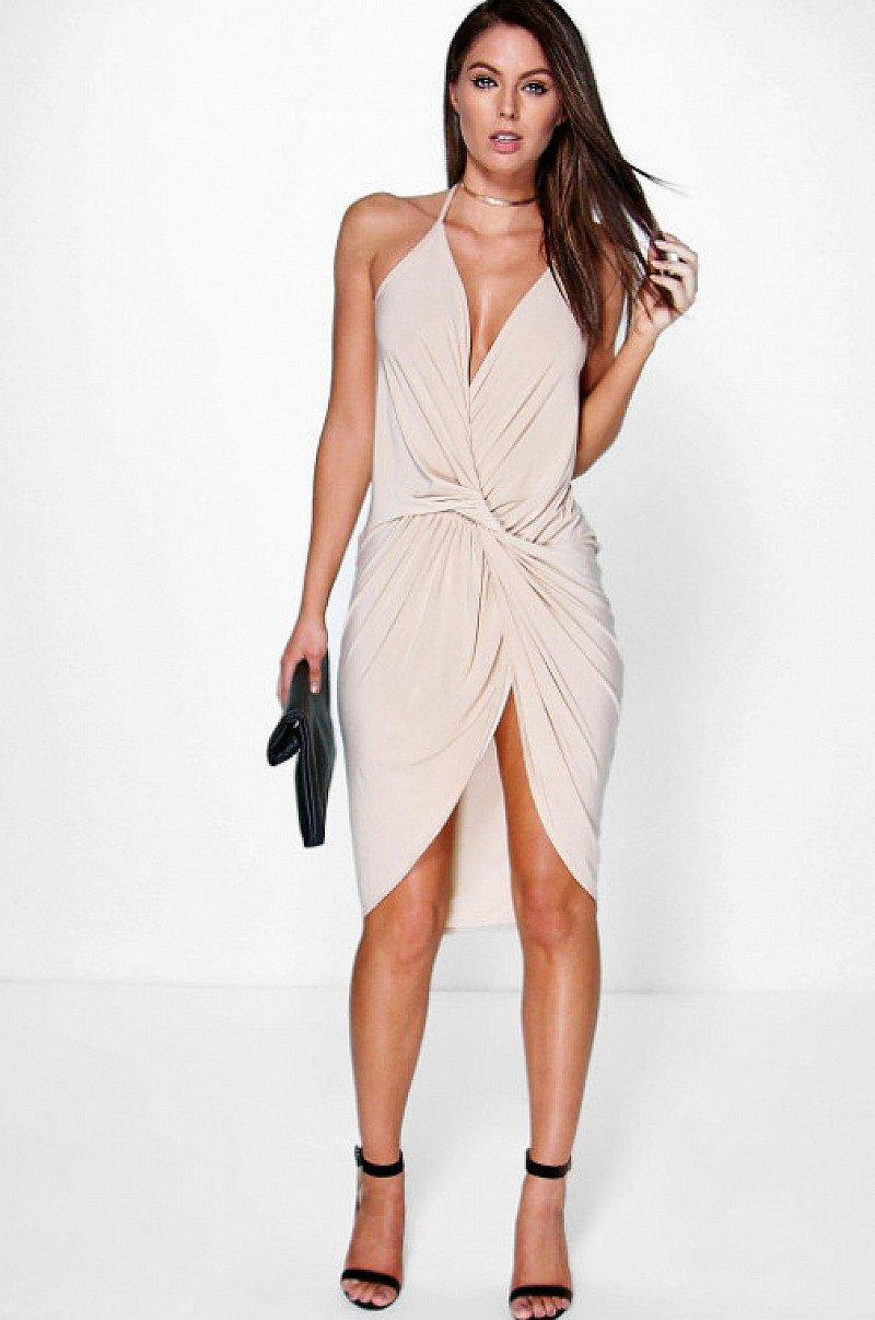 Devin Strappy Knot & Drape Detail Midi Dress 66% OFF + more sale items online!
