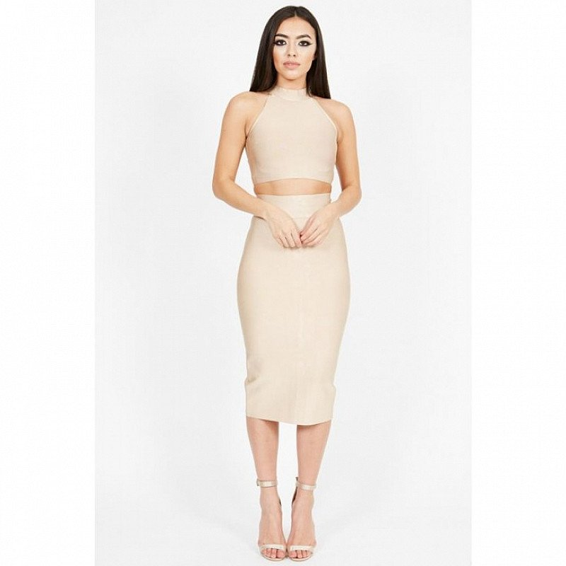 Nude Crop Top and Bandage Skirt Co-rd: Save £26.00!