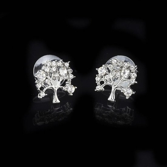 SILVER TONE CRYSTAL TREE STUD EARRING