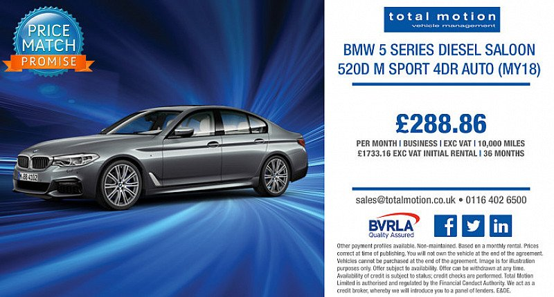 BMW 5 Series M Sport Auto | Business Lease For £288.86 + VAT p/m!