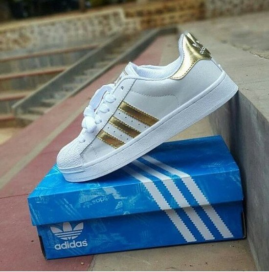 SAVE 49% - adidas white & gold superstar youth trainers!