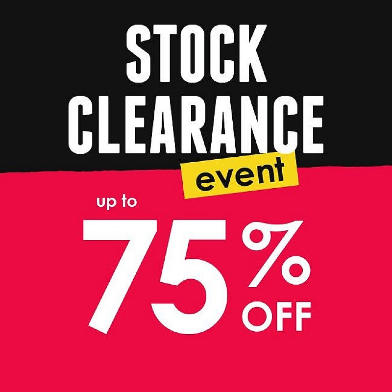 Stock Clearance Event - Up to 75% OFF!