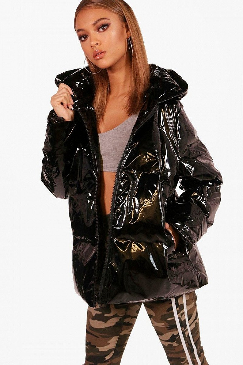 Black Oil Slick Padded Jacket - NOW ONLY £28
