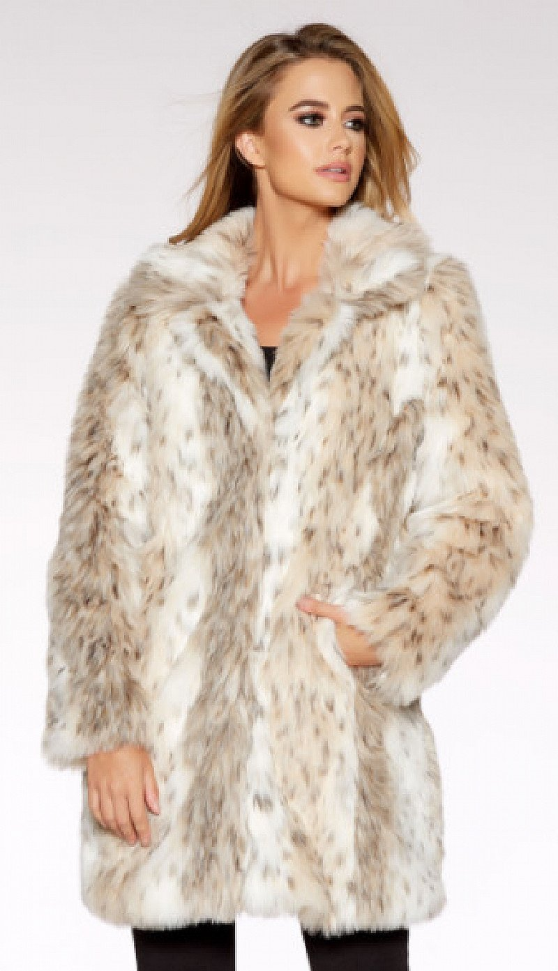 Beige And Grey Leopard Print Faux Fur Jacket - SAVE OVER 40%