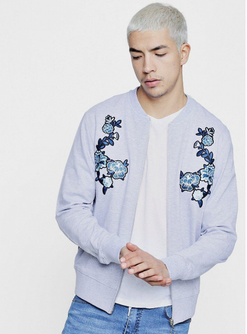 Slim Fit Twin Rose Embroidered Bomber - ONLY Y£8!