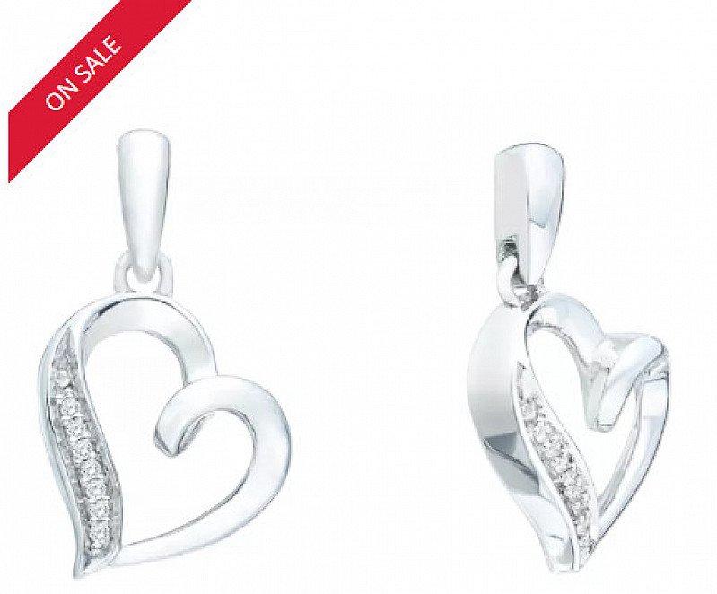 Sterling Silver Diamond Heart Earrings - SAVE £60