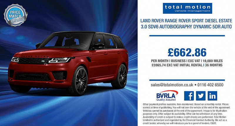 Range Rover Sport 3.0 SDV6 Autobiography Dynamic Auto   Business Leasing Offer
