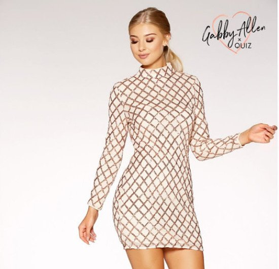 SAVE £15 on this Nude And Rose Gold Sequin Bodycon Dress!