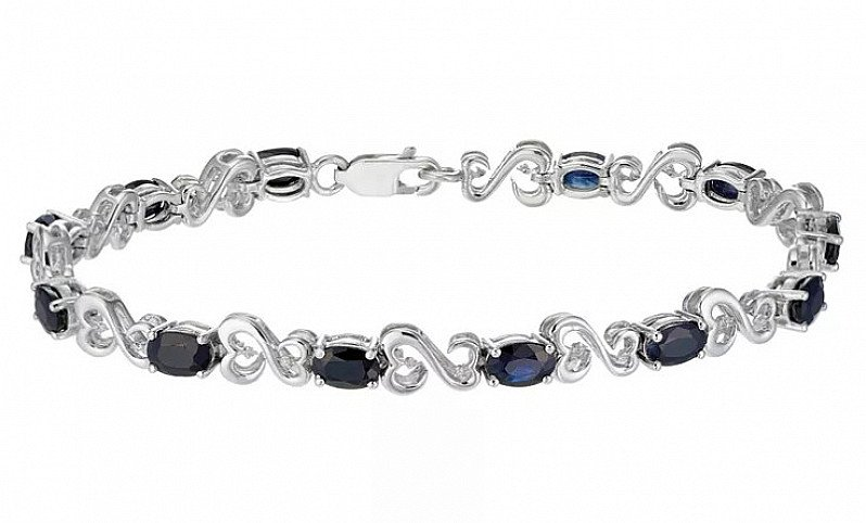 HALF PRICE! Silver Diamond Sapphire Bracelet - Open Hearts By Jane Seymour