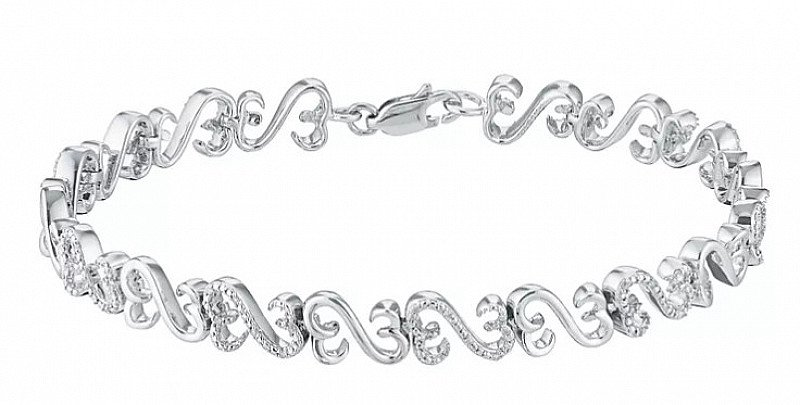 SAVE £180 on this Silver & Diamond Bracelet - Open Hearts By Jane Seymour!