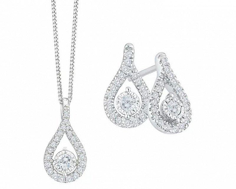 HALF PRICE! 9ct White Gold 1/3ct Diamond Earrings & Pendant Set
