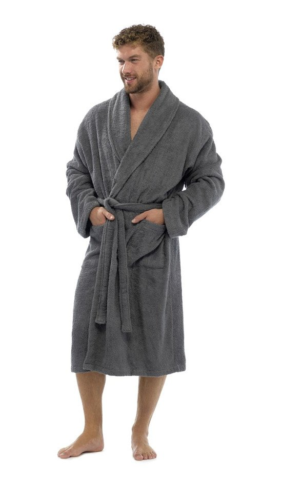 SAVE 62% on this Classic Charcoal Marl Fleece Dressing Gown!