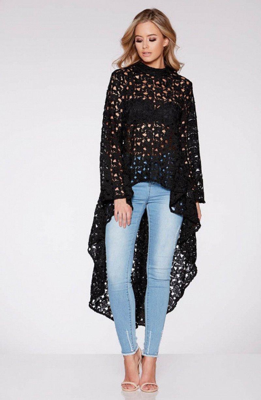 Lace Dip Hem Long Sleeved Top - SAVE £10!