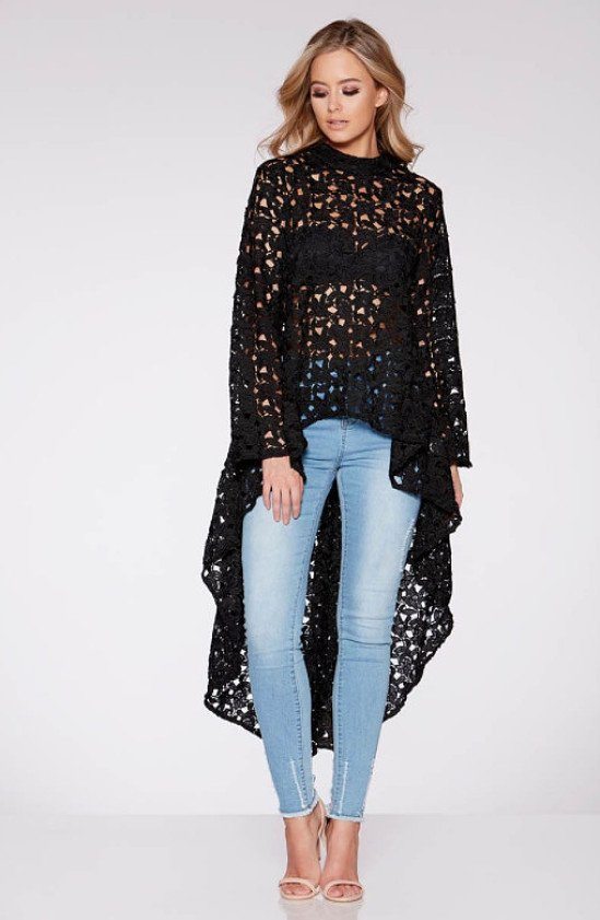 Lace Dip Hem Long Sleeved Top - SAVE £10!