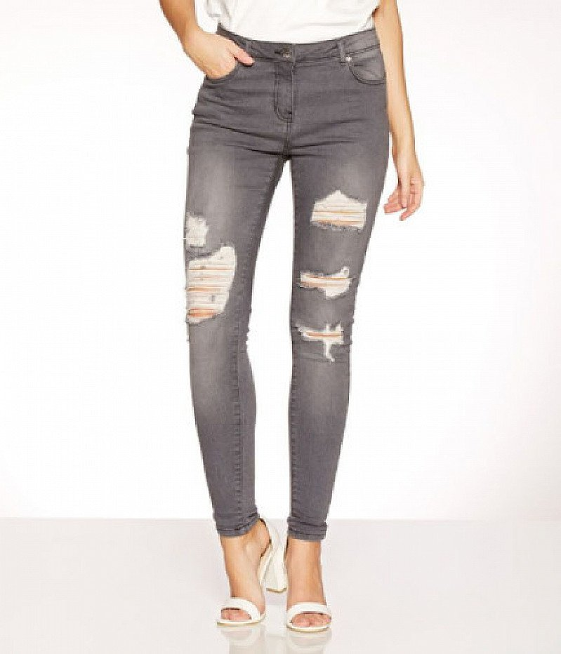 Grey Stretch Ripped Skinny Jeans - SAVE 33%