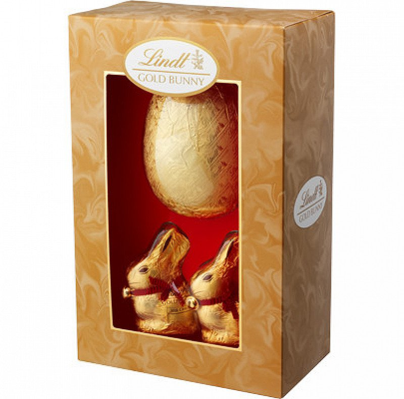 Lindt Milk Chocolate Easter Egg with 2 Gold Bunnies £10.00!