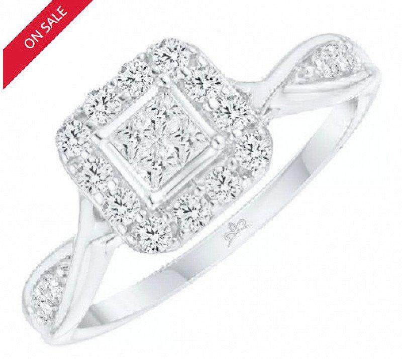 50% OFF this 9ct White Gold 2/5ct Diamond Princessa Ring!
