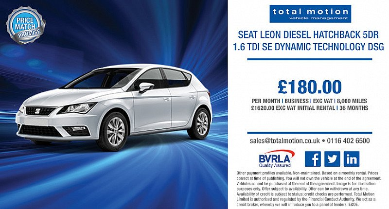 Seat Leon 1.6 SE Dynamic Technology DSG | From £180 + VAT for business users!