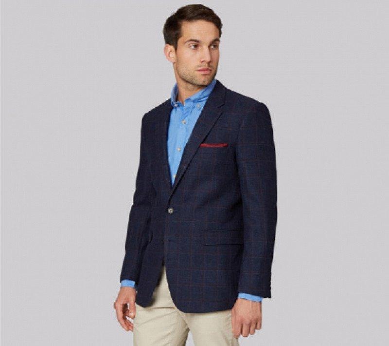 SAVE 60% on this Navy/Wine Windowpane Regular Fit Jacket!