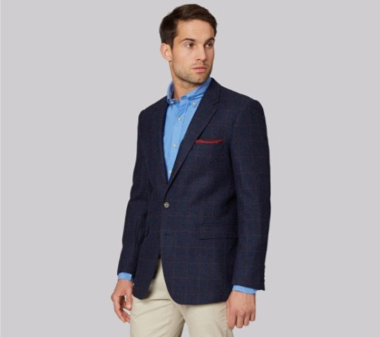 SAVE 60% on this Navy/Wine Windowpane Regular Fit Jacket!