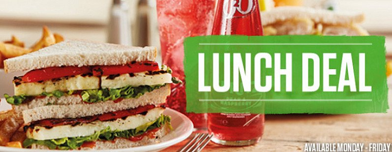 LUNCH DEAL - FREE Soft Drink with ANY Sandwich, Sub or Wrap!