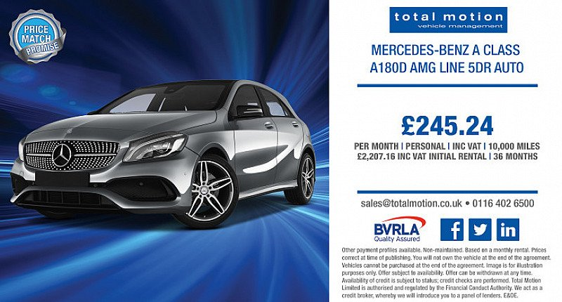 Mercedes A Class A180D AMG Line Auto | £245.24 p/m & IN STOCK!
