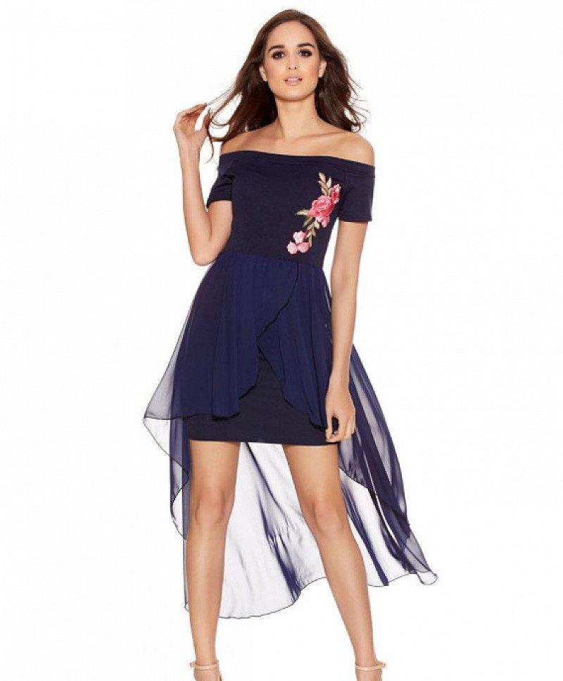 SAVE 73% on this Navy Bardot Embroidered Dip Hem Dress