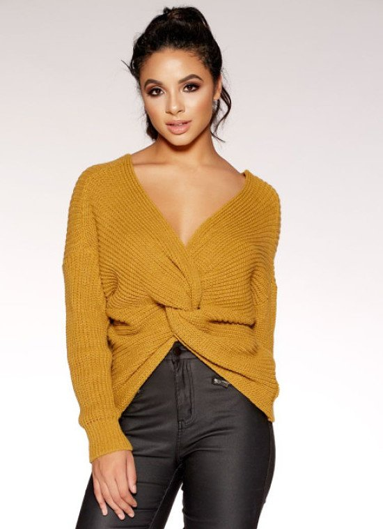 Mustard Knitted Knot Front Long Sleeve Jumper - SAVE £10!