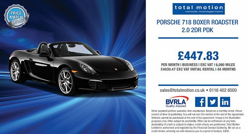 Porsche Boxer Roadster 718 from only £447.83 + VAT p/m | Business Leasing Special Offer