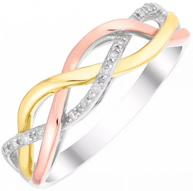 9ct Gold Three Colour Diamond Set Eternity Ring - SAVE £100!