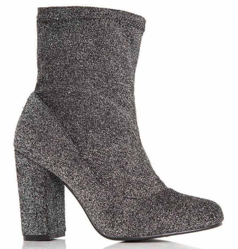 Grey Textured Block Heel Ankle Boots - ONLY £9.99!