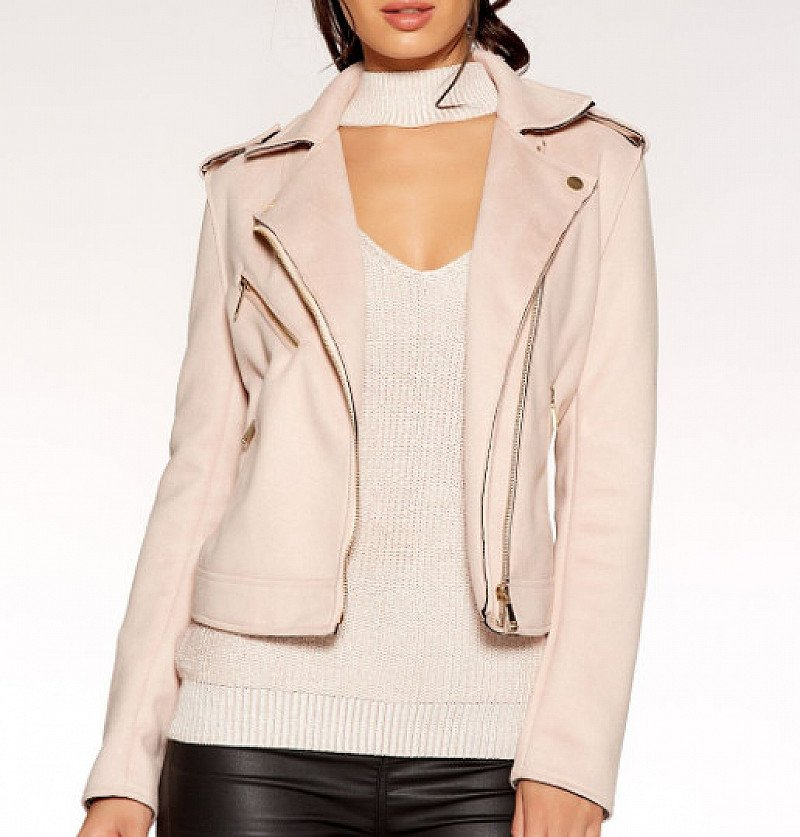 SAVE £10 on this Pale Pink Faux Suede Biker Jacket!