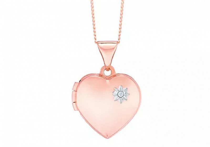 """SAVE 30% on this 9ct Rose Gold Diamond Set Heart Locket With 18"""" Chain!"""