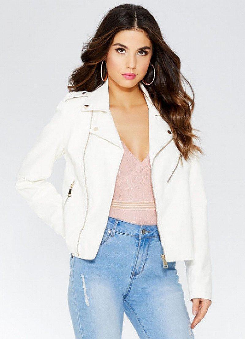 25% OFF this White Gold Zip Biker Jacket!