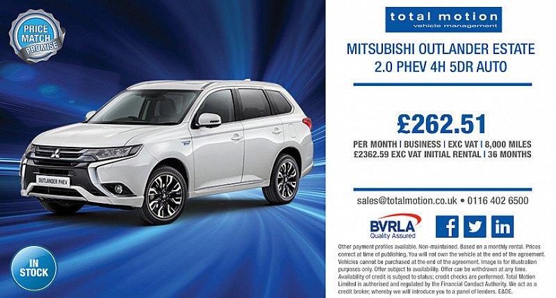 Mitsubishi Outlander PHEV 4h 5dr Auto   Business Lease For £262.51 + VAT p/m!