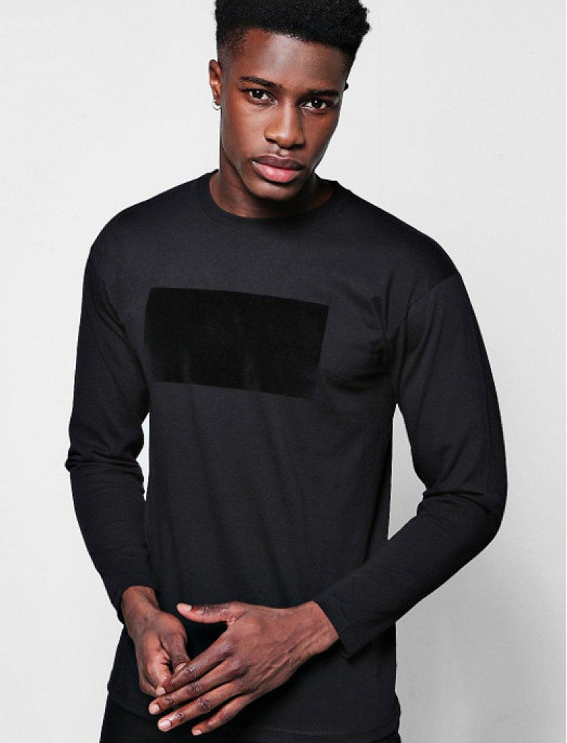 Mens Long Sleeve Velvet Panel T-Shirt - ONLY £5!