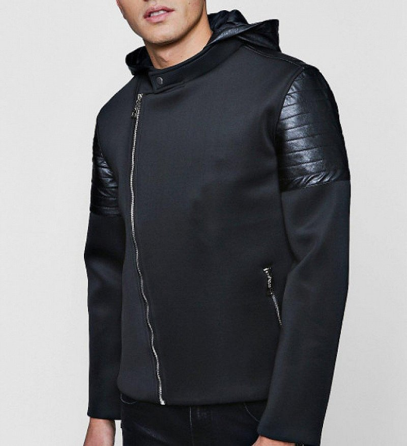SAVE 60% on this Mens Biker Panel Scuba Hooded Jacket!