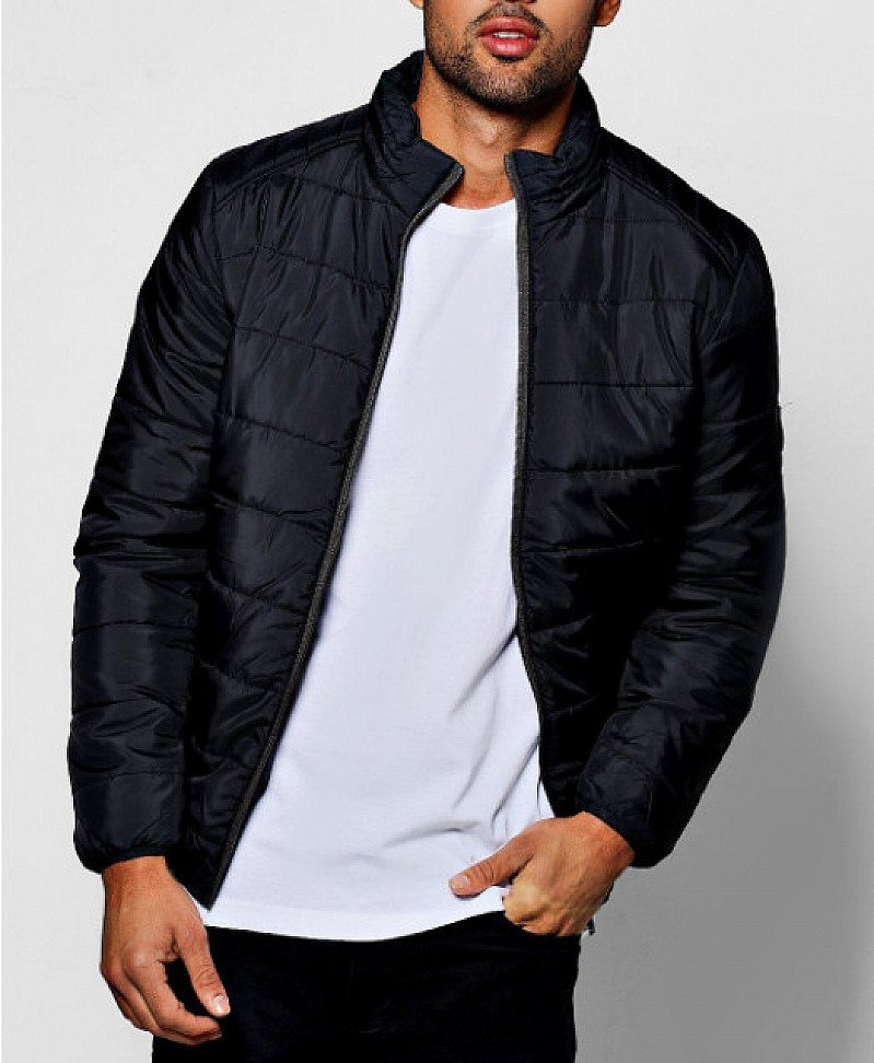 60% OFF - Mens Zip Through Funnel Neck Quilted Jacket!