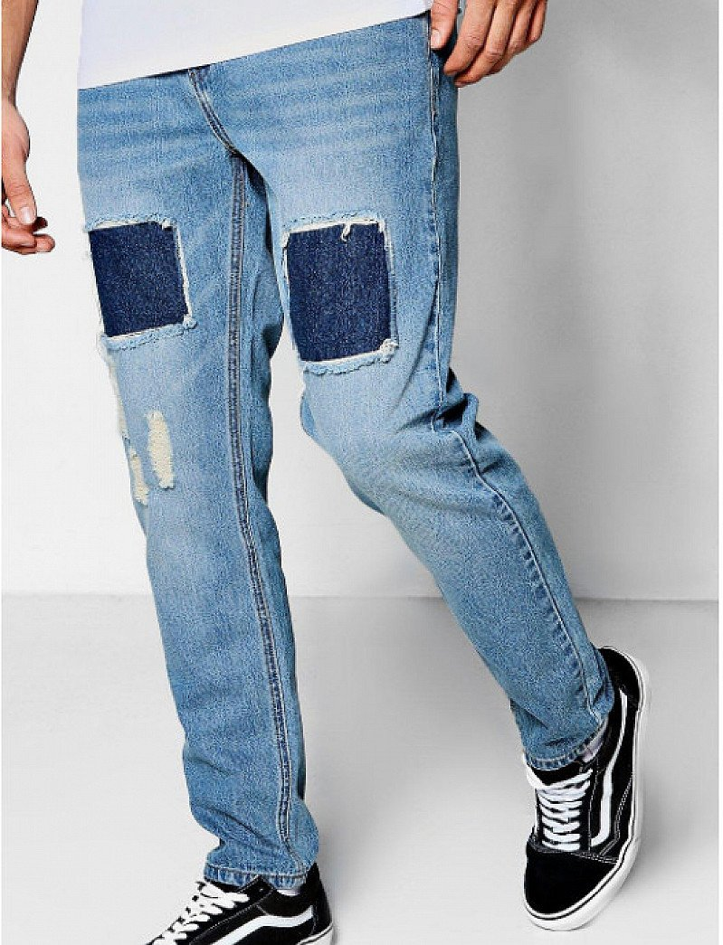 SAVE £16 on these Slim Fit Jeans with Repaired Thigh Detail!